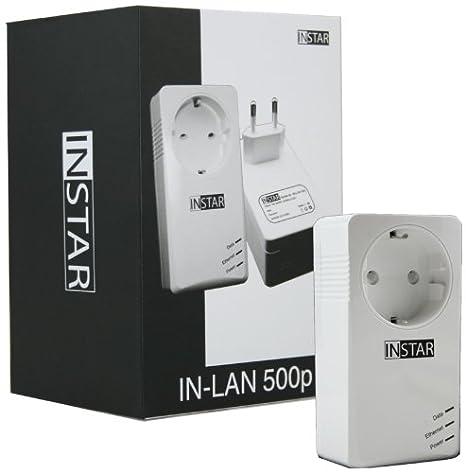 Instar 100378 Mini-adaptateur CPL supplémentaire avec prise intégrée 500Mbps/s 2W Blanc