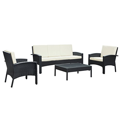 LexMod Brook Outdoor Wicker Patio Sofa and 2-Arm Chair Set with Coffee Table, Espresso Rattan and White Cushions