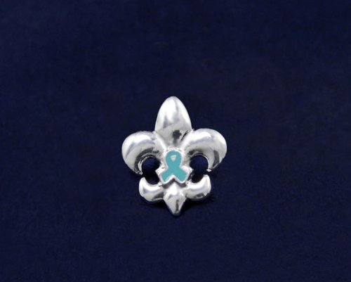 Teal Ribbon Pin - Small Fleur De Lis Pin (50 Pins)