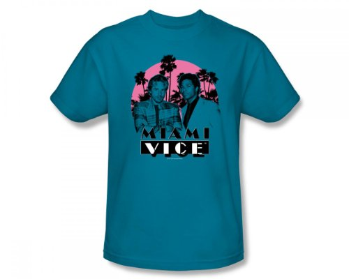 Miami Vice - Don't Do Anything Stupid Slim Fit Adult T-Shirt In Turquoise - S to XXL