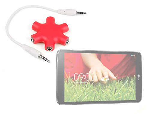 "Duragadget Bright Red 5-Way Headphone Splitter ""Star"" For Lg G Pad 8.3"