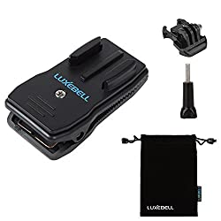 Luxebell 360 Degree Rotating Backpack Hat Rec-mounts Clip Fast Clamp Mount for Gopro Hero4,hero3+,hero3,hero2 & Hero and Sj4000, Sj5000 Cameras