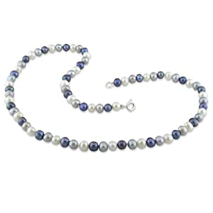Click to buy Cheap Pearl Necklaces: Freshwater Black, White and Grey Pearl Single Row Necklace from Amazon!