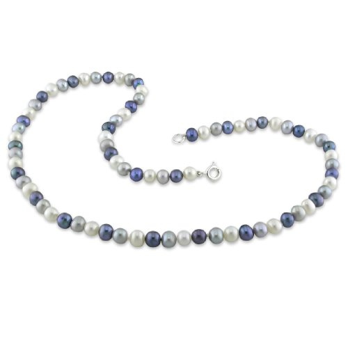 5-6 mm FW Black, White and Grey Pearl Single Row Necklace, 16.5