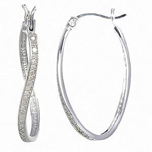 Vir Jewels Sterling Silver Diamond Hoop Earrings (1/4 CT)