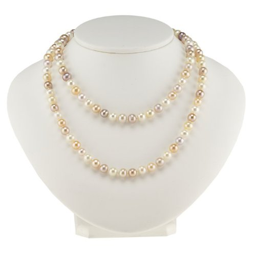 Multi Color Freshwater Semi-Round Continuous Pearl Strand Necklace - 30 Inches