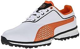 PUMA Men\'s Titanlite Golf Shoe, White/Black/Vibrant Orange, 9 M US