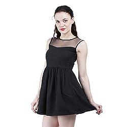 Altamoss Netted Black Women's Dress (Size-L)
