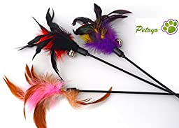 Petoyo ™ Birds Flying Feather Cat Teaser Toy (Assorted Colors (3 Toys))