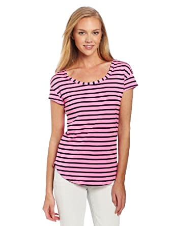 Splendid Women's Striped Easy Tee Shirt, Neon Pink, Small