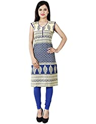 Yogalz Women Blue Color Cotton Casual Party Wear Kurti Girls Kurta