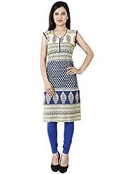 Yogalz Women Blue Color Cotton Casual Party Wear Kurti Girls Kurta