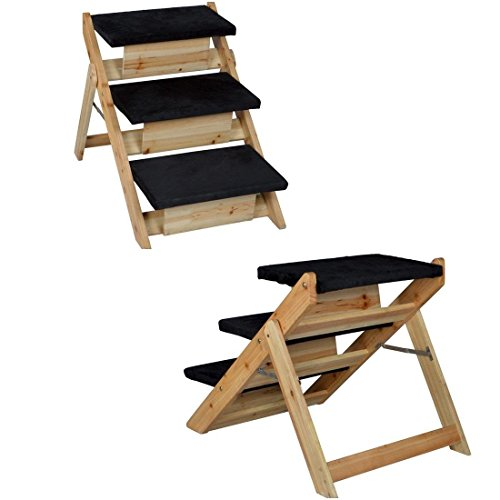 1-Set Superb Popular 2in1 Pet Stairs Ramp Staircase Lightweight Folding Kitten Steps Ladder Colors Black and Wood