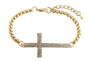 Gold Iced Out Cross Adjustable Link Bracelet Shamballah