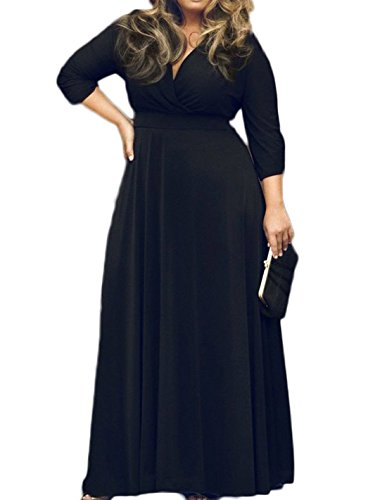 POSESHE Women's Solid V-Neck 3/4 Sleeve Plus Size Evening Party Maxi Dress Black XXL
