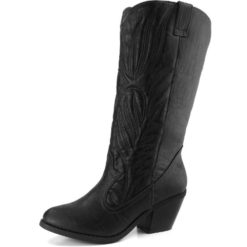 Women's Mid Calf Western Vintage Embroidered Cowboy Knee High Boot Fashion Stylish Casual