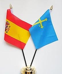Spain and Asturias Friendship Table Flag Display 25cm (10\