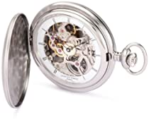 Charles-Hubert, Paris 3906-W Premium Collection Stainless Steel Satin Finish Hunter Case Mechanical Pocket Watch