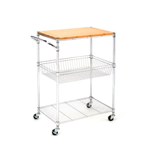 Image of Seville Classics SHE14307 Kitchen Utility Cart with Bamboo Top (SHE14307B)