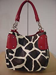 Designer Inspired Red Trim Giraffe Handbag Purse Tote