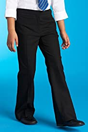 Girls Shorter and Longer Length Bootleg Trousers with Zip Pocket and Adjustable Waist