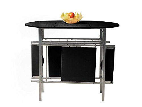 Krasavic tempered drop down extension leaf dining dinette for Pull down kitchen table