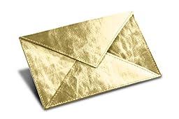 Lucrin - Rectangular A6 Envelope - Golden - Metallic Leather