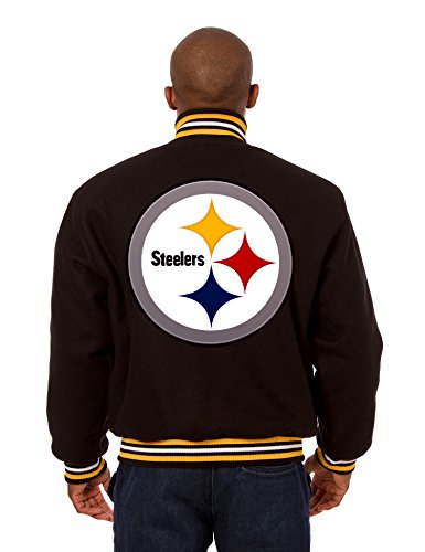 Pittsburgh Steelers Jacket - Hand Crafted Wool w/Embroidered Applique Team Logos (X-Large)