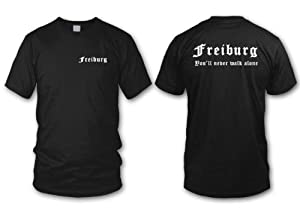 shirtloge - FREIBURG - You'll never walk alone - Fan T-Shirt - Größe S - XXL