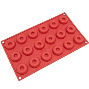 Freshware 18-Cavity Mini Savarin and Donut Silicone Mold and Baking Pan