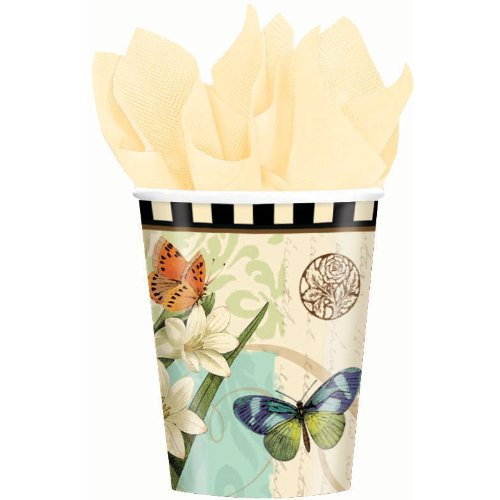 Disposable Paper Cup for Hot and Cold Beverages with Garden Melody Print (8 Piece), 9 oz, Multi