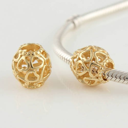 General Gifts Open Your Heart 18k Gold Plated 925 Sterling Silver Charm Beads for Pandora, Biagi, Chamilia, Troll and More Bracelets