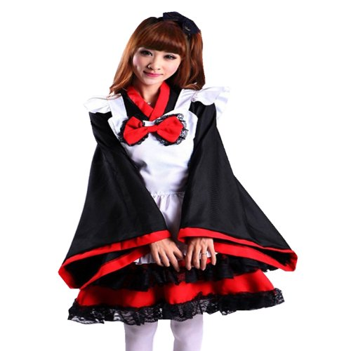 Treasure-box Fancy Plus Size Anime Maid Apron Cosplay Bow Lace Tiered Dress Set