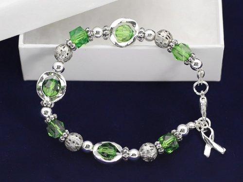 Green Ribbon Bracelet-Silver Circles w/ Green Beads (18 Bracelets)