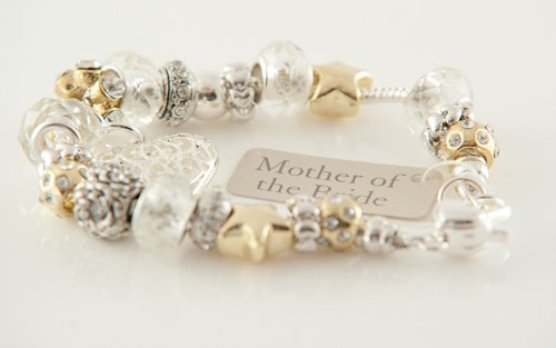 Silver & Gold Bead Charm Bracelet - For Mother of the Bride, Wedding Gift