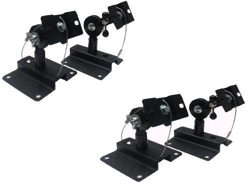 Mount-It Heavy Duty Black Universal Satellite Speaker Mounts / Brackets For Walls And Ceilings Up To 33 Lb (2 Pcs)
