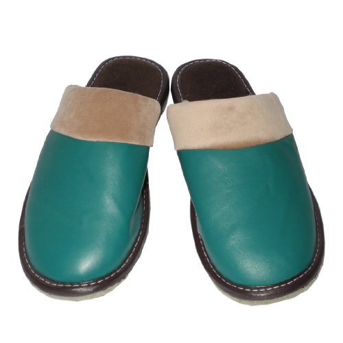 Womens Open Back Lounge House Slippers with Leather Toe and Suede Sole Size US 6 EU 36 5 UK 5 5 Teal Tan