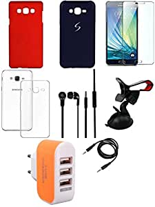 NIROSHA Tempered Glass Screen Guard Cover Case Headphone Mobile Holder Charger car for Samsung Galaxy ON5 - Combo