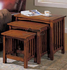 3 Mission Style Nesting Table Set in Antique Oak Finish