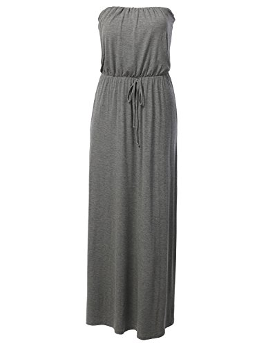 J.Tomson Womens Tube Maxi Dress With Waist Tie Gray Medium