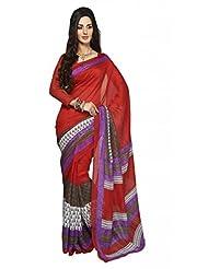 Inddus Exclusive Women Bhagal Puri Silk Printed Red Saree - B00OLYE7TG