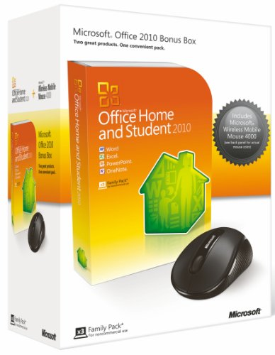 Microsoft Office 2010 Home and Student, 3 Users and Microsoft Wireless Mobile Mouse 4000 Bundle (PC)