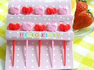Sanrio Hello Kitty Plastic Fruit Food Picks 10pc #1478