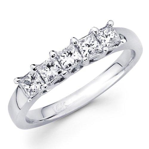 Sale 14K White Gold 5 Stone Diamond Ladies Women Princess Cut Wedding Anniversary Ring Band (1/2 CTW., GH, SI) - size 7.5