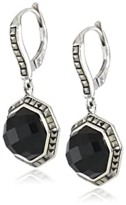 """Judith Jack """"Mini Octagons"""" Sterling Silver, Onyx and Marcasite Drop Earrings"""