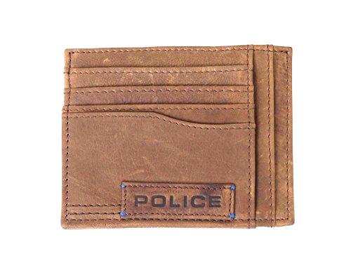 Police Porta carte di credito in pelle di colore marrone scuro