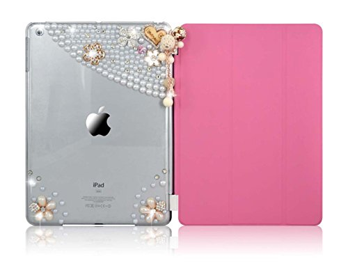iPad Mini 4 Bling Case, Sparkle Glitter Full Protection PU Leather Slim-Fit Trifold Smart Cover Stand Folio Case for Apple iPad Mini 4 with Auto Sleep / Wake Feature, Pearl Flower Pendant Pink (Ipad Mini White 32gb Wifi compare prices)