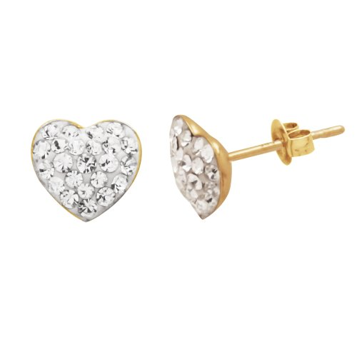 14k Yellow Gold Crystal Heart Stud Earrings14k Yellow Gold Crystal Heart Stud Earrings