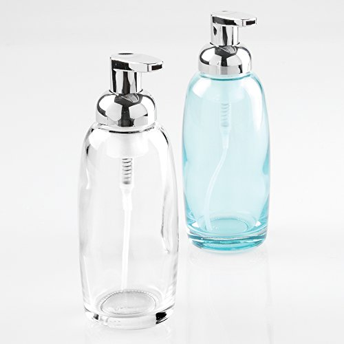 Mdesign glass foaming soap dispenser pump 2pc bathroom for Clear glass bathroom accessories