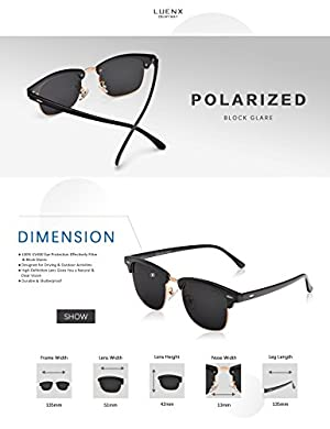 1649ee5af7 LUENX Men Clubmaster Polarized Sunglasses Women UV 400 Protection Black  Lens Black Glossy Retro Classic Frame ...